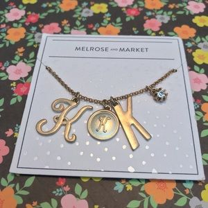"Melrose & Market ""K"" gold tone necklace NWT"